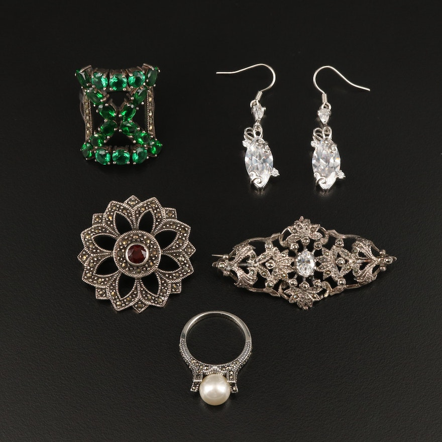 Sterling Jewelry Including Marcasite, Faux Pearl and Cubic Zirconia