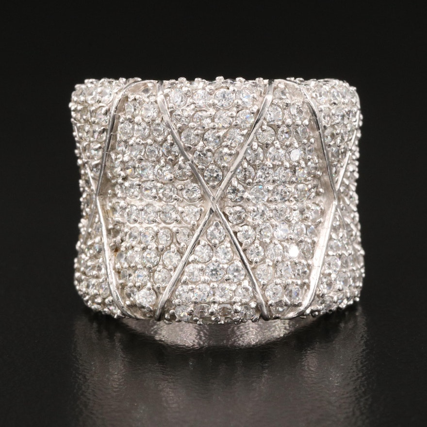 Sterling Cubic Zirconia Saddle Ring