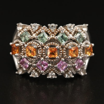 Sterling Sapphire and Topaz Multi-Row Ring