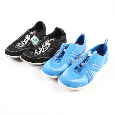 Lands' End Water Shoes in Blue and Water Oxfords in Black