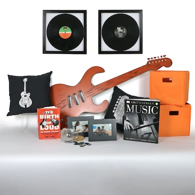 Functional Sculpture Metal Guitar-Shaped Wall Art & Other Music-Themed Decor