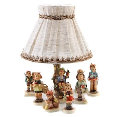"Goebel ""Apple Tree Boy"" Lamp with Other Porcelain Hummel Figurines"