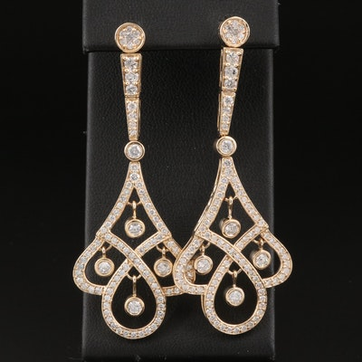 14K 3.06 CTW Diamond Pendulum Earrings with Floating Diamonds