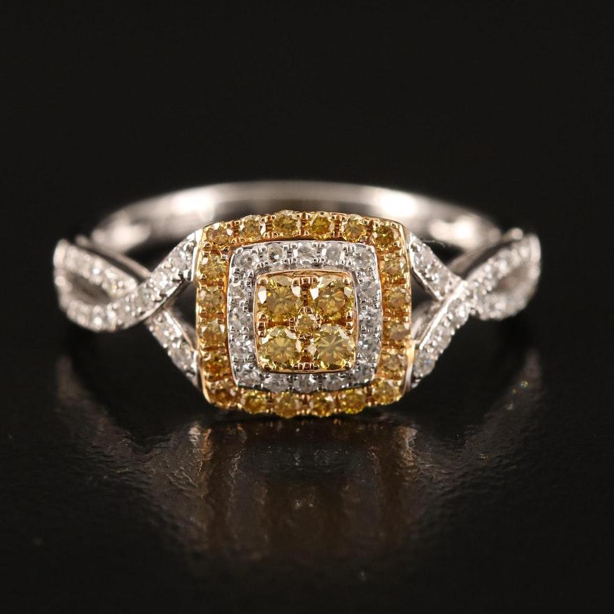 14K Yellow Diamond and Diamond Ring
