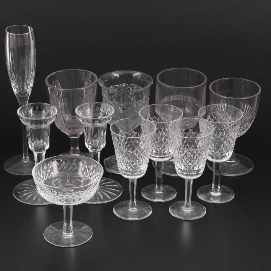 """Waterford """"Alana"""" Crystal Stemware with Other Waterford Crystal Glasses"""