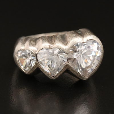 Sterling Silver Cubic Zirconia Graduated Hearts Ring