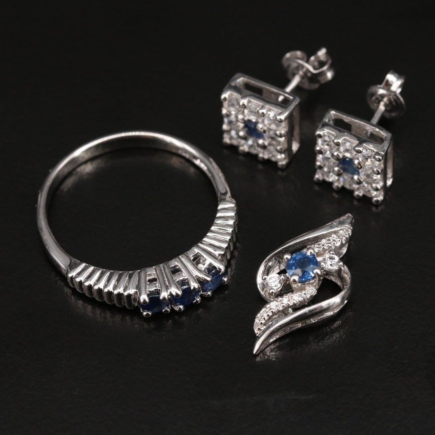 Sterling Sapphire and Zircon Earrings, Ring and Pendant