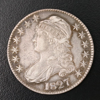 1827 Capped Bust Silver Half Dollar, Curled Base 2 Variety