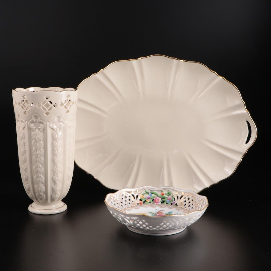 """Dresden Reticulated Porcelain Bowl with Lenox  Vase and """"Symphony"""" Platter"""