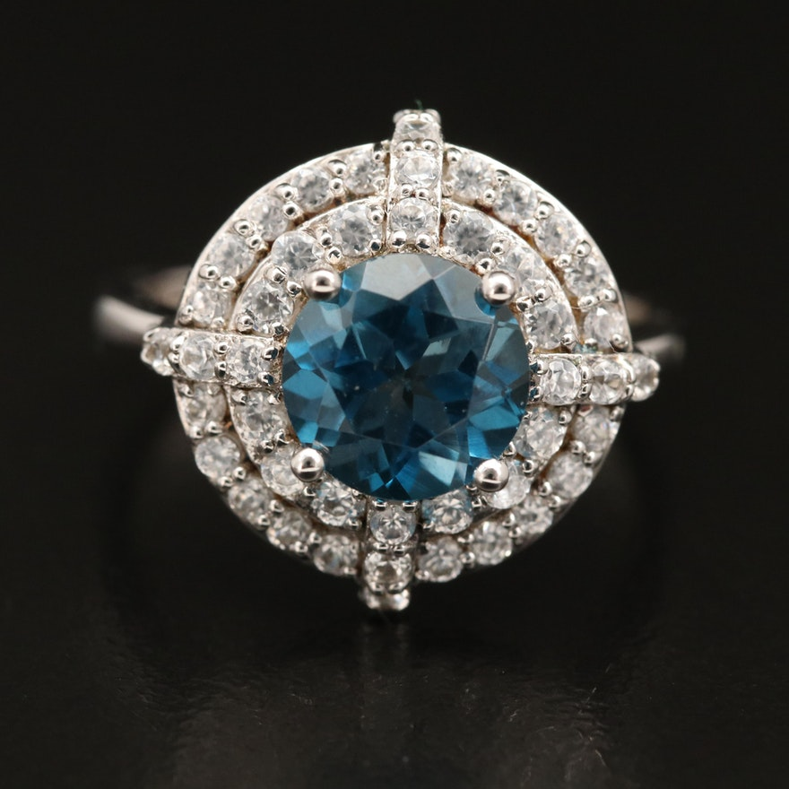 Sterling Silver London Blue Topaz and Zircon Ring