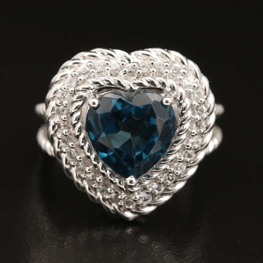 Sterling Silver London Blue Topaz Heart and Zircon Halo Ring