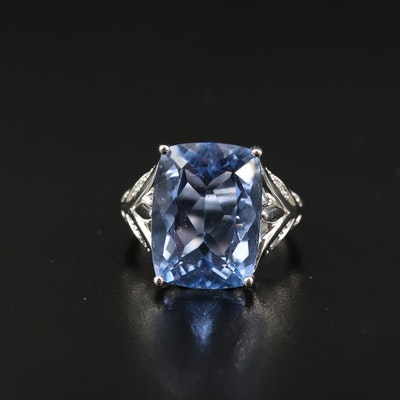 Sterling Fluorite and White Topaz Ring