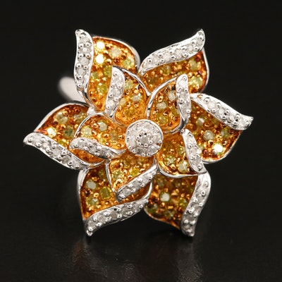 Sterling Silver 1.10 CTW Diamond Flower Ring