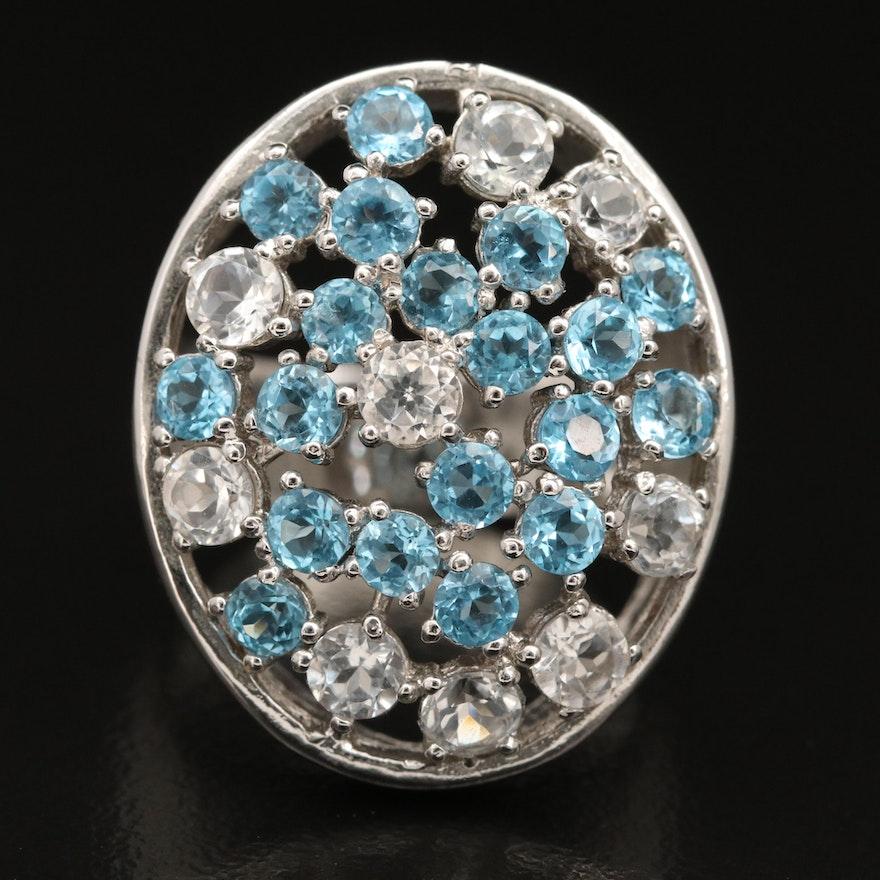 Sterling Silver Openwork Swiss Blue Topaz Cluster Ring