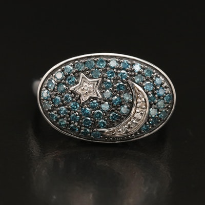 Eva LaRue Sterling Silver Pavé Diamond Celestial Ring