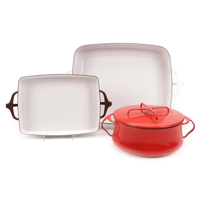 """Dansk """"Kobenstyle"""" Enameled Bakers and Casseroles, Mid to Late 20th Century"""