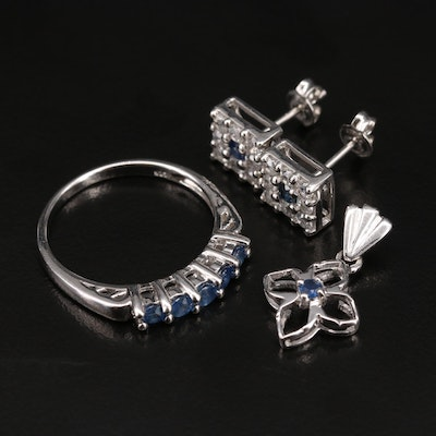 Sterling Sapphire and White Zircon Jewelry Featuring Earrings and Ring