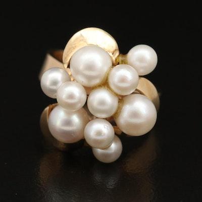 1960s 14K Pearl Cluster Ring