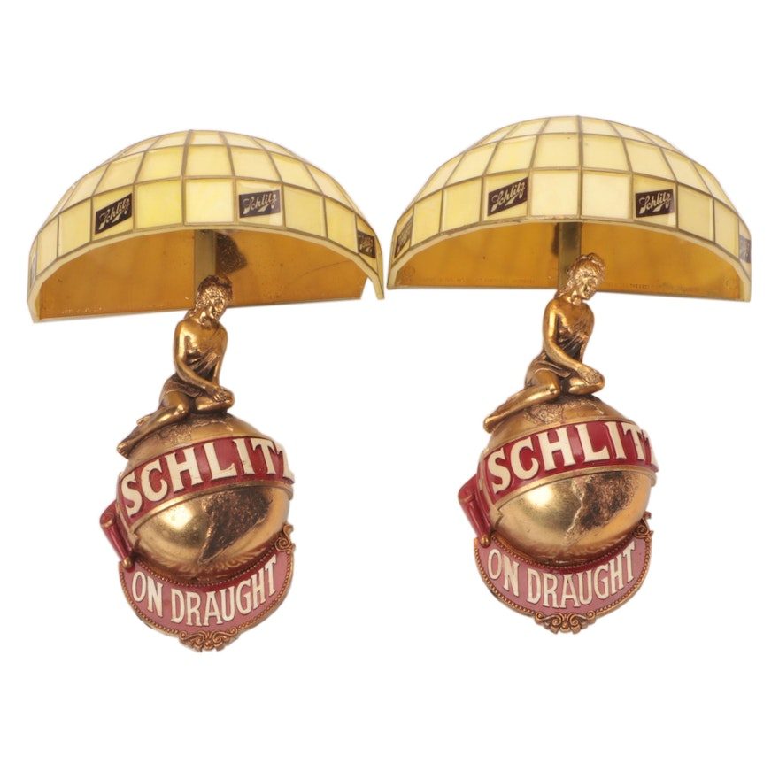 """Schlitz Beer """"On Draught"""" Wall Sconce Lights, Mid-20th C."""