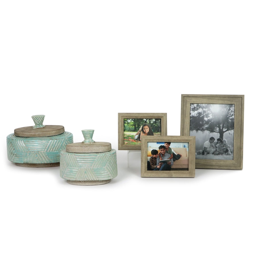 Glazed Earthenware Lidded Containers and Wooden Tabletop Photo Frames