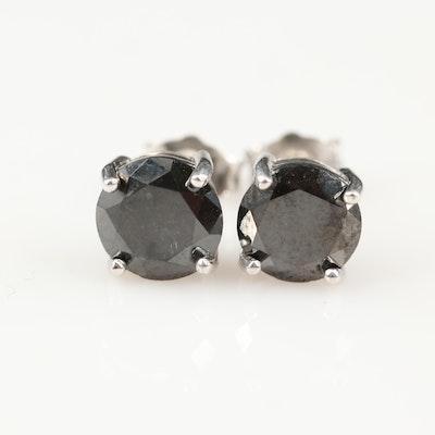 Sterling 2.95 CTW Black Diamond Stud Earrings