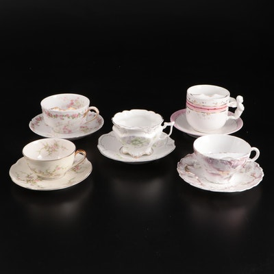 Haviland Limoges Porcelain Mustache Cups and Other Teacups, Early to Mid 20th C.