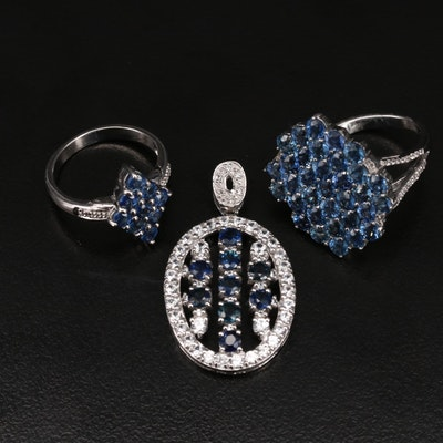Sterling Pendant and Sapphire Including Sapphire and Zircon