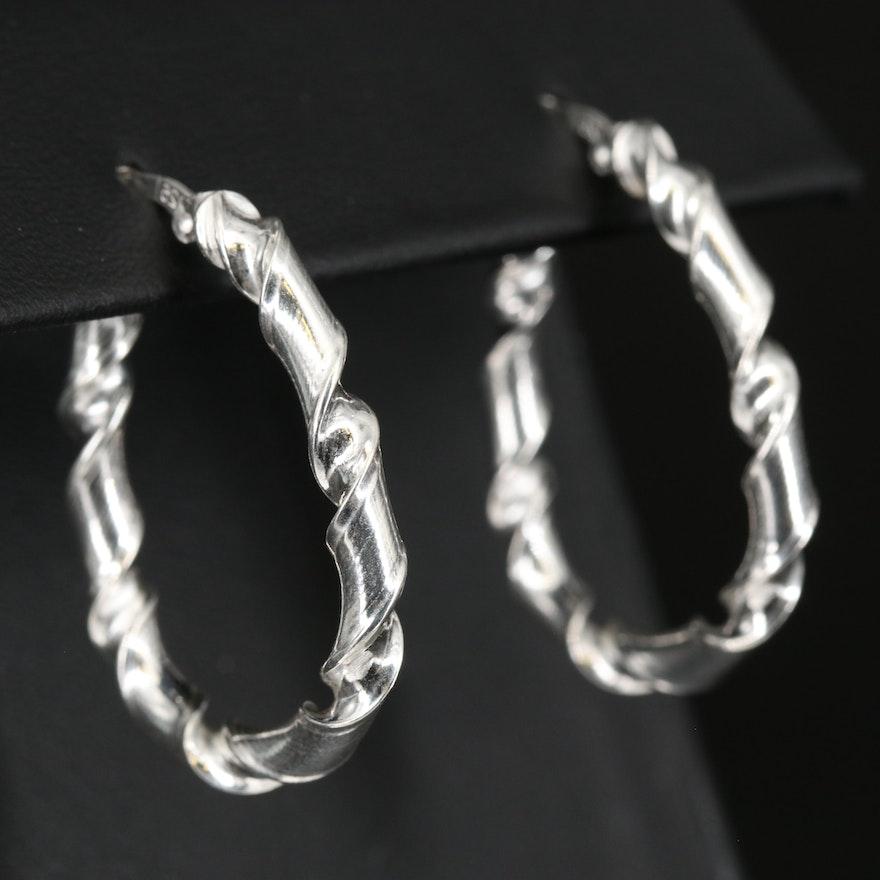 Sterling Twisted Hoop Earrings