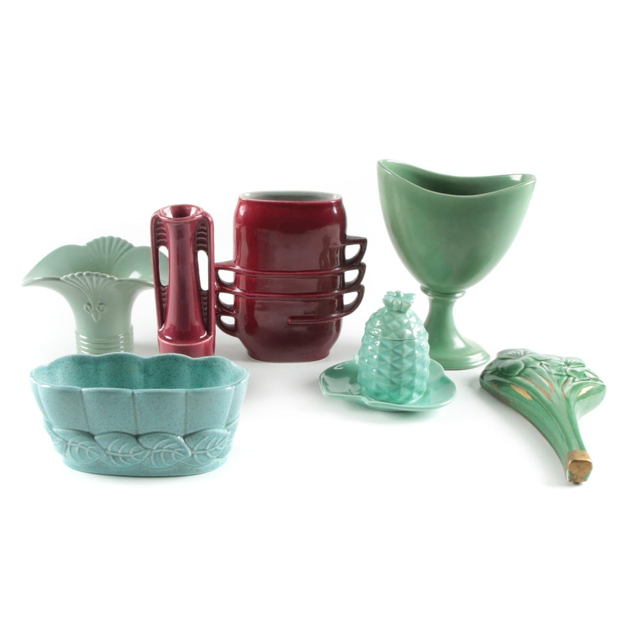 Red Wing Pottery Vases and Other Ceramic Wall Pocket and Tableware