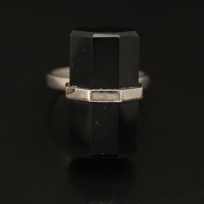 Black Onyx Barrel Ring