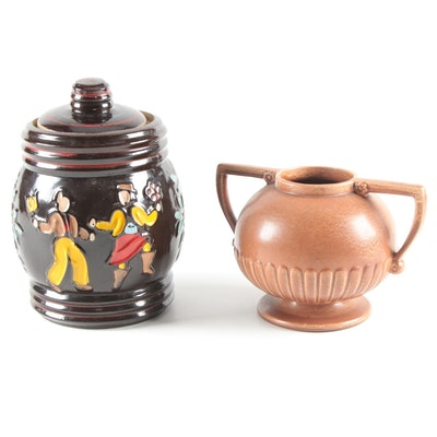 Red Wing Pottery Stoneware Footed Vase with Other Stoneware Lidded Jar