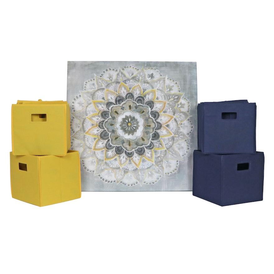 "Danhuí Naí Giclée ""Sunburst"" and Fabric Storage Cubes"