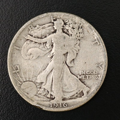 Better Date Low Mintage 1916 Walking Liberty Silver Half Dollar