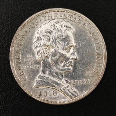 1918 Illinois Centennial Commemorative Silver Half Dollar