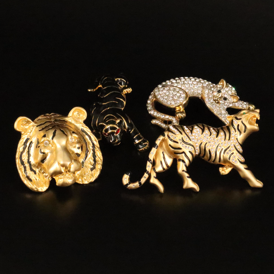 Vintage Rhinestone Tiger Brooch Selection