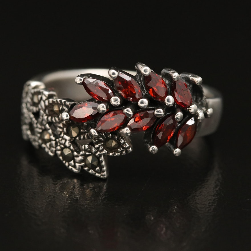 Sterling Garnet and Marcasite Bypass Ring