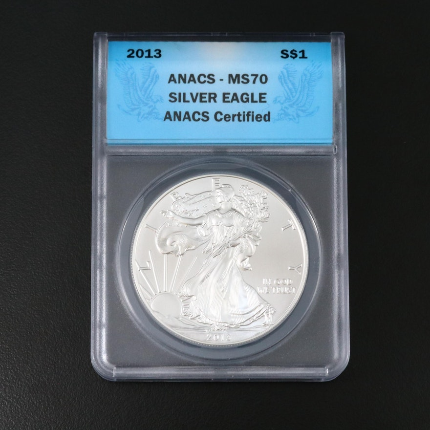ANACS Graded MS70 2013 Silver Eagle Bullion Dollar Coin