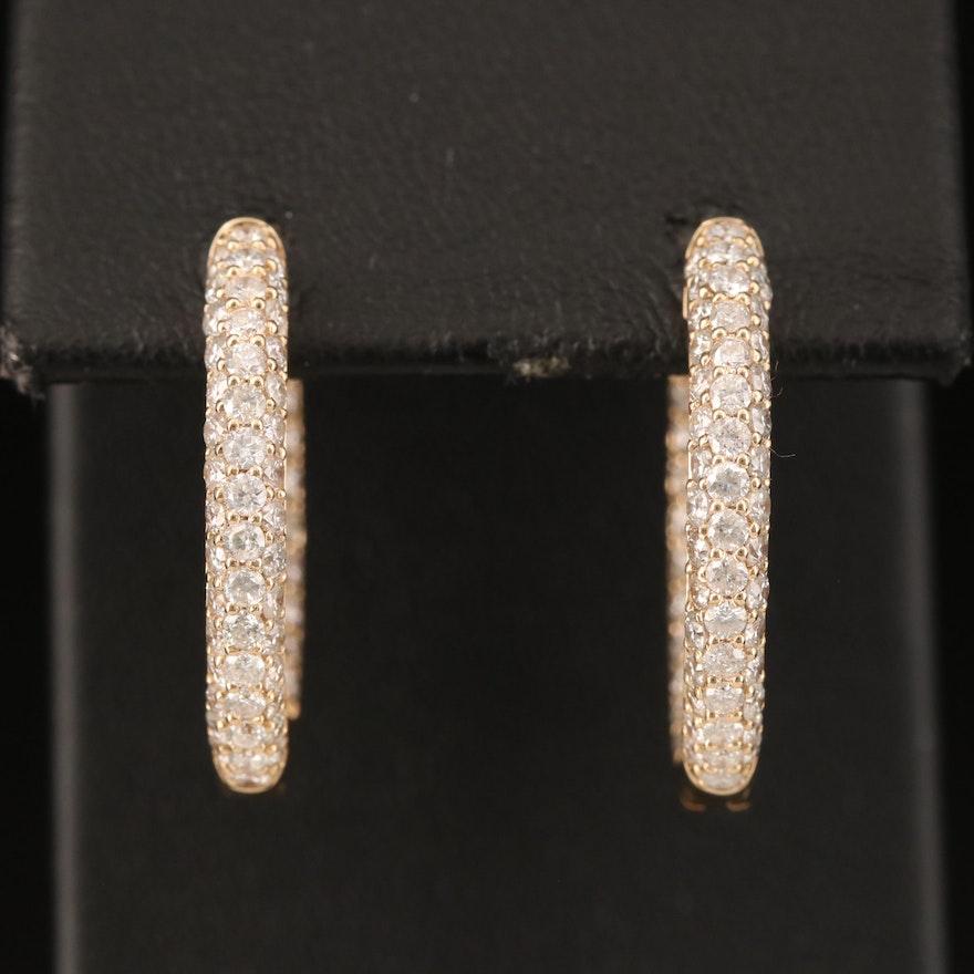 14K 2.57 CTW Diamond Inside-Out Hoop Earrings