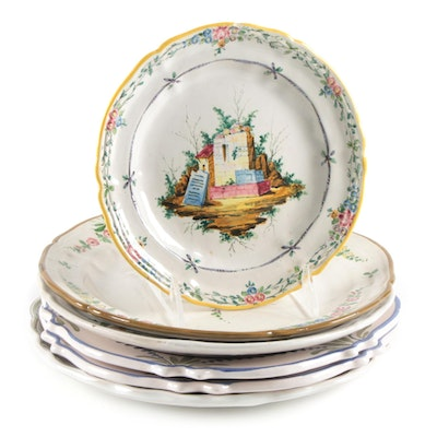 Matet and Other French Faïence Ceramic Plates, 20th Century