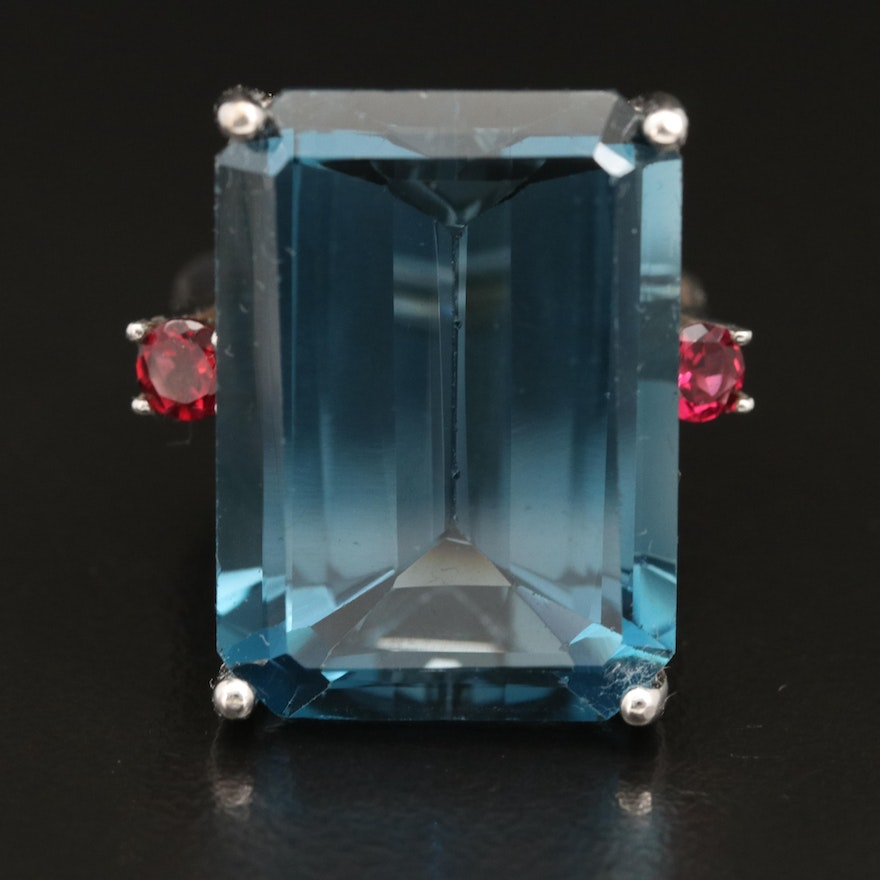 Sterling London Blue Topaz and Tourmaline Ring