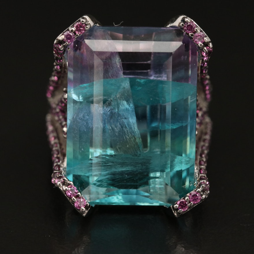 Sterling Fluorite and Garnet Ring