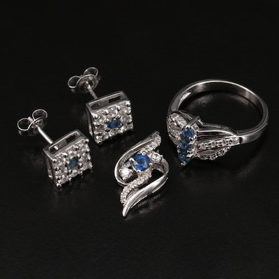 Sterling Jewelry Including Earrings, Ring and Pendant