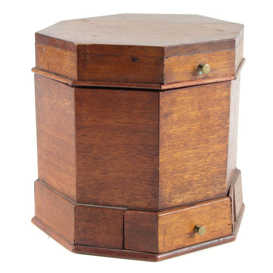 Victorian Octagonal Oak Box with Drawer, 19th Century