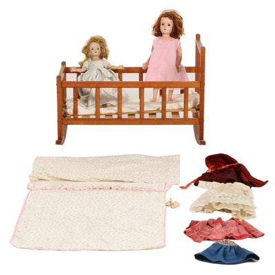 Handmade Wooden Doll Crib with Dolls and Accessories, Mid-20th Century