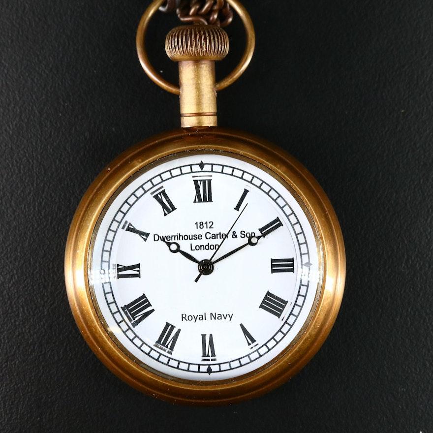 Dwerrihouse Carter & Son Royal Navy Novelty Brass Pocket Watch