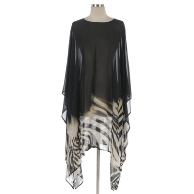 Eskandar Caftan Dress in Zebra Print Silk