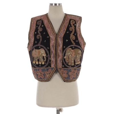 Indian Inspired Elephant Embroidered Black Velveteen Vest