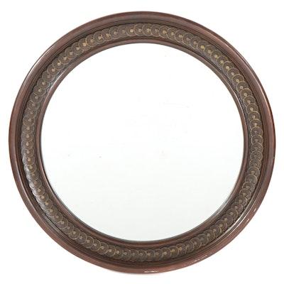 Wood Framed Circular Wall Mirror, Contemporary