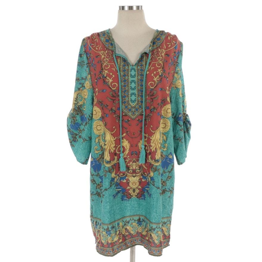 Urban Coco Shift Dress in Bohemian Print with Tassels