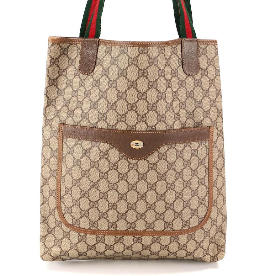 Gucci Accessory Collection GG Supreme Canvas Shopper Tote with Web Straps